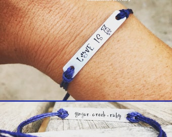 Double sided dog lover gift, Custom Hand Stamped friendship bracelet, customizable Jewelry, Quote Bracelet, Gift Idea bulk stamped bracelets