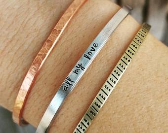 Personalized Cuff bracelet, Minimalist cuff, Hand stamped jewelry, skinny cuff bracelet, Hidden message, Customized stackable jewelry