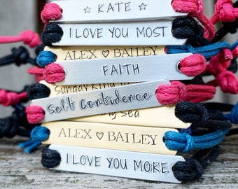 Friendship Bracelets, Hand Stamped customized jewelry, personalized Quote Bracelet Gift Idea bulk stamped bracelets, Motivational gifts