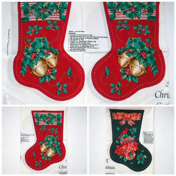 Vintage Diy Christmas Stocking Craft Fabric Christmas Sewing Material Make Your Own Stocking Set Of Four Stockings Christmas Holiday Decor