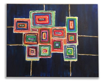 colorful dream, a rectangular handmade acrylic painting