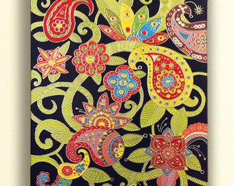 colorful flowers, handmade acrylic mandala and Persian style painting,mixed media on canvas