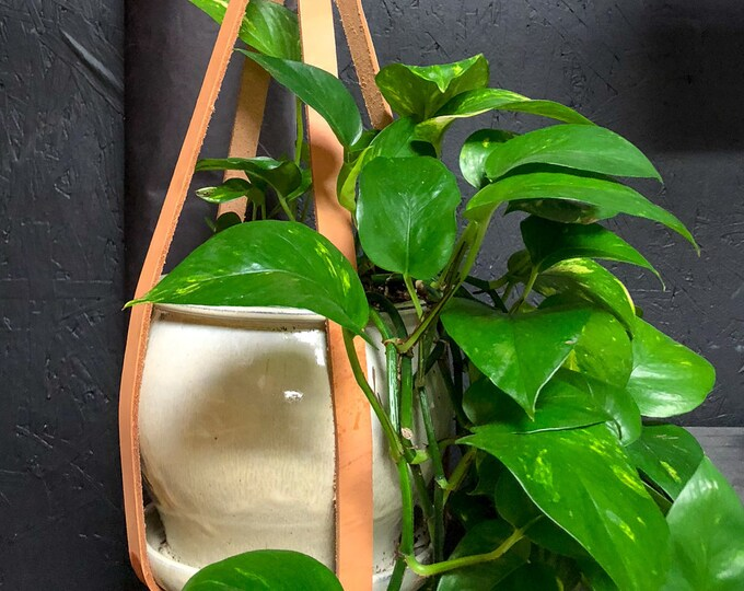 """28"""" Leather And Brass Plant Hanger"""