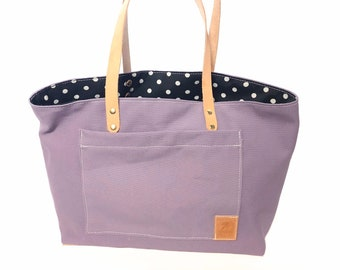 Purple Tote with Polka Dot Lining
