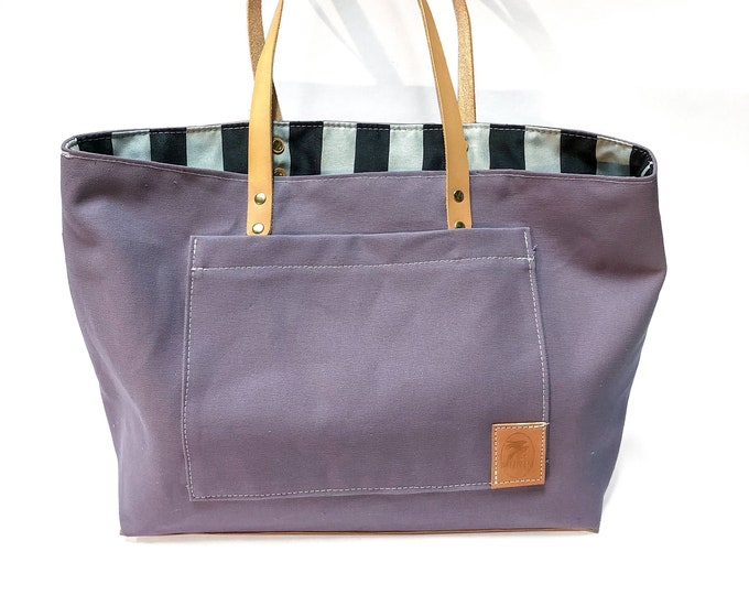 Purple Tote with Vintage Striped Lining