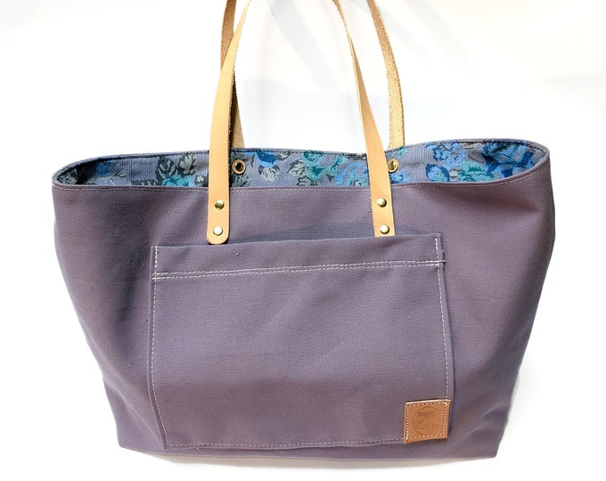 Purple Tote with Floral Corduroy Lining
