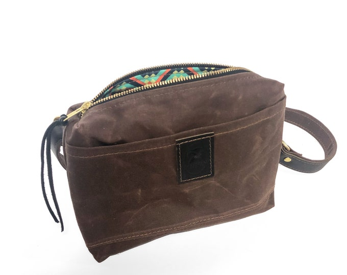 Mini Messenger Bag - Nutmeg Waxed Canvas