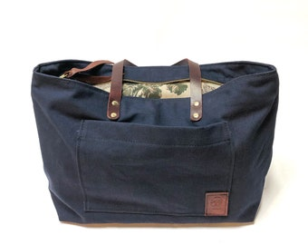 Zipper Tote with Floral Lining