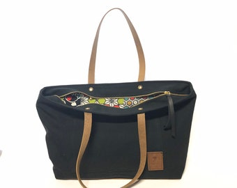 Zipper Tote with Vintage Japanese Lining