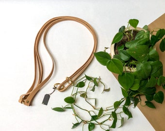 """36"""" Leather And Brass Plant Hanger"""