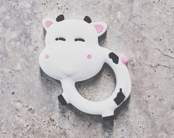 Baby Teething Toy, Silicone Toy Teether, Food Grade, Chewelry, Baby Shower, Baby Gift, Cow, White, Cute, Trendy