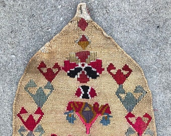 "East Anatolian Wall-hanging Prayer Mat - Corn husk & Wool weaving! Mid 20th century. - 24"" x 42"" - 62 x 106 cm."