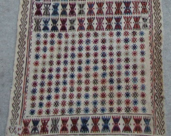 Old Long Kilim with Embroidery - Table runner - 1'8 x 10'4 - Wall hanging - Free shipping!