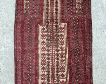 Baluch Tribal rug - Vintage Prayer rug - 3' x 5' - 91 x 152 cm. - Free shipping!