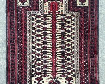Baluch Tribal rug - Vintage Prayer rug - 3'2 x 4'3 - 97 x 130 cm. - Free shipping!