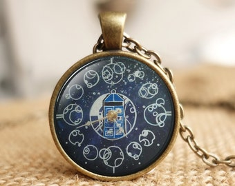 Gallifreyan custom name Sterling Silver necklace pendant Gold plated 18K Time Lord Doctor Who and Companion friendship jewelry