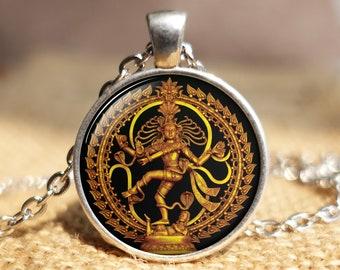 Handmade High Grade Sterling Silver Hammered Indian Religious Pendant Hindu God Dancing Shiva Natraj Pendant Charm  Pendant