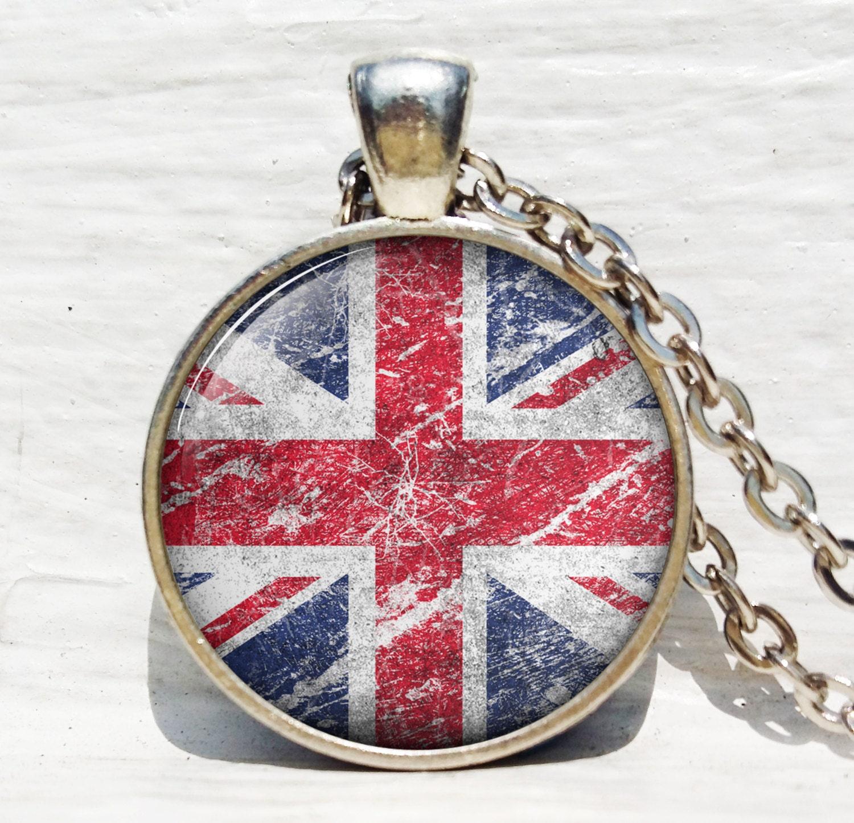 Rustic England Flag Necklace English Flag Necklace London UK   Etsy