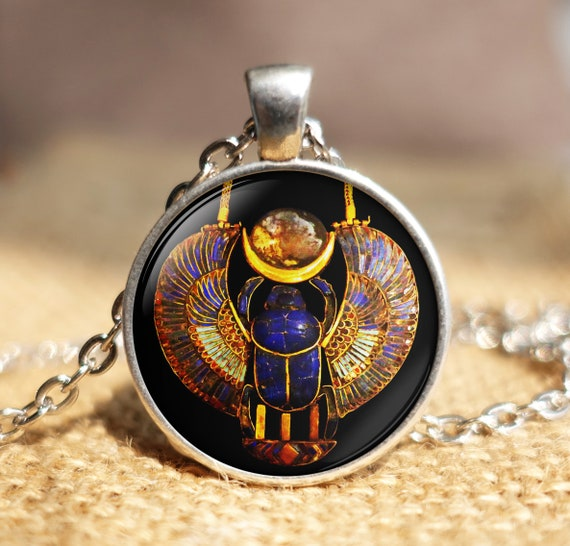 Gold Winged Scarab Pendant Scarab Jewelry Egyptian Jewelry Protection Necklace Egyptian Necklace w Obsidian  Labradorite Scarab Necklace