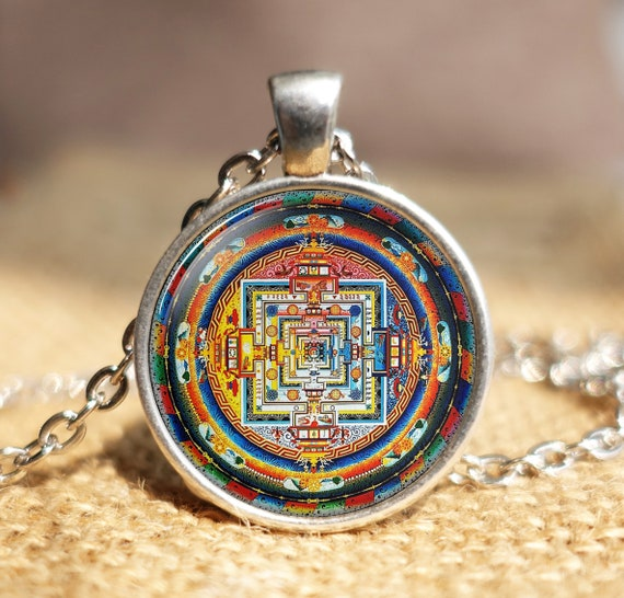 Meditation Mandala ~ Cabochon Tibetan Silver Glass 1 12 Pendant