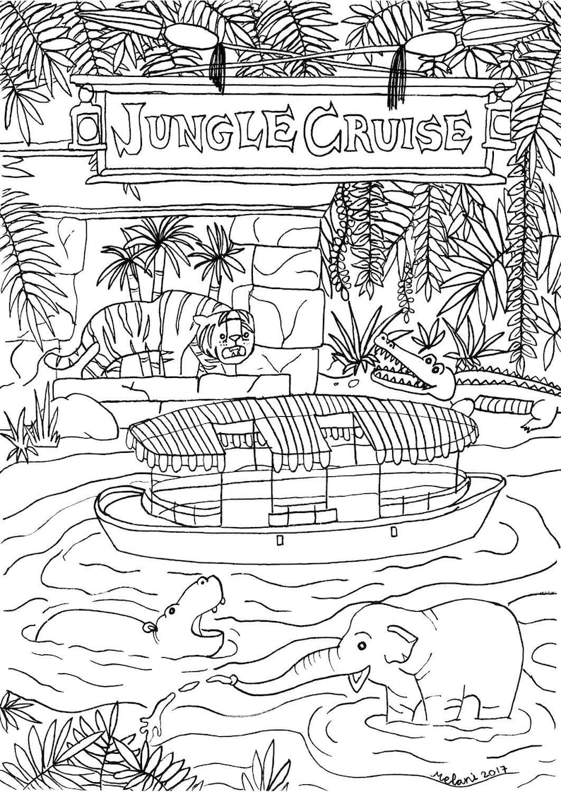 Disney Inspired Jungle Cruise Coloring Page Printable Download Adult Coloring Page