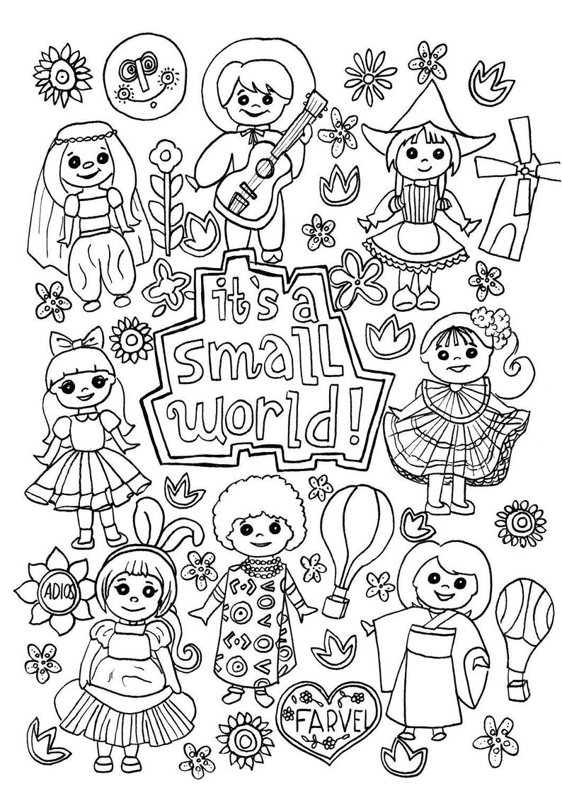 Its a Small World Coloring Page Digital Download Disney | Etsy