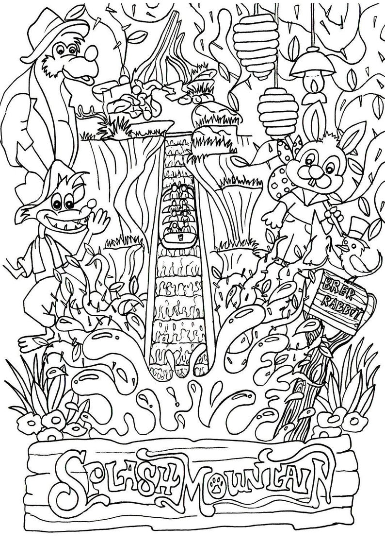 Disney Inspired Disney Coloring Page Splash Mountain Ride Coloring Page Printable Download Adult Coloring Page
