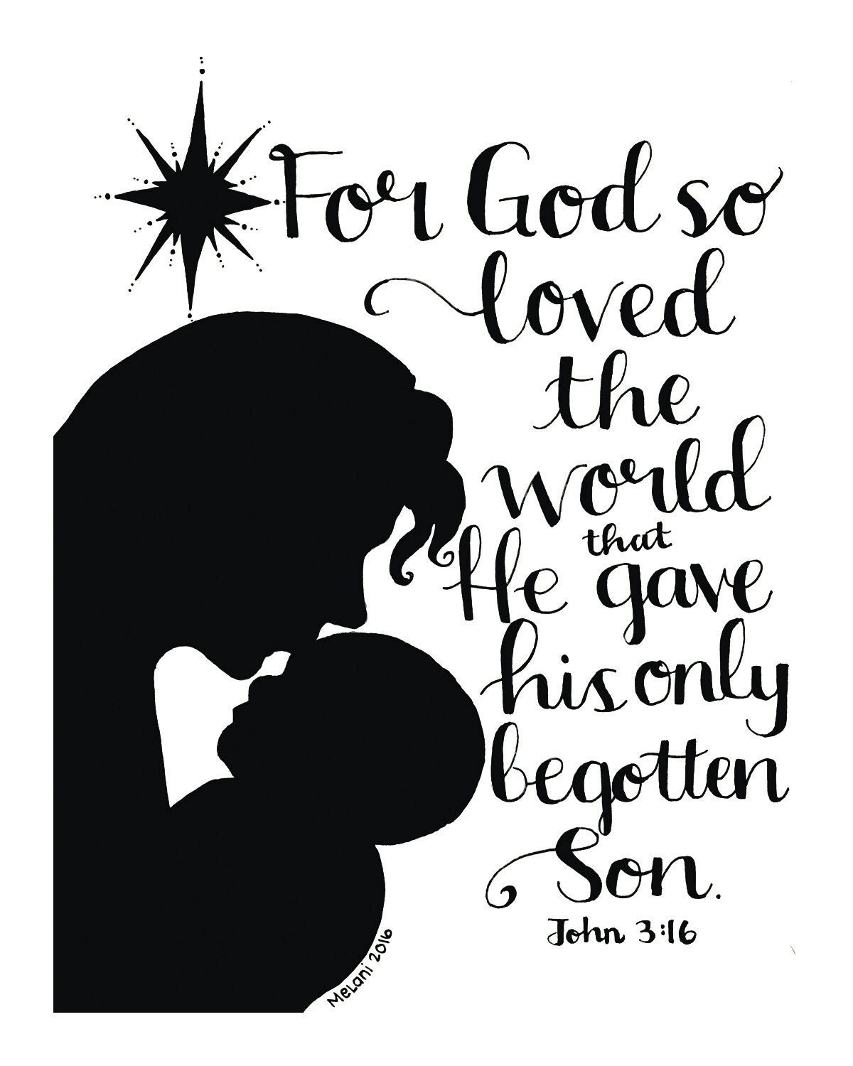 John 3:16 Christmas Print holiday Scripture Quote Bible   Etsy