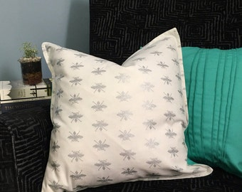 Silver Bee Cushion Cover