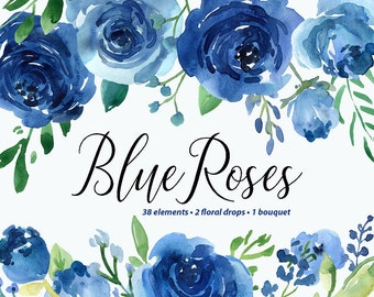 Watercolor Flowers Clipart Blue Roses Leaves Branches Free Commercial Use Aquarelle Clip Art Flower Separate PNG Floral Arrangements