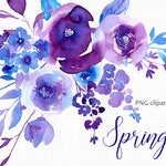 Spring Watercolor Floral Clipart Digital Instant Download Flowers Leaves Clip Art Collection Aquarelle Hand Painted Free Commercial Use PNG
