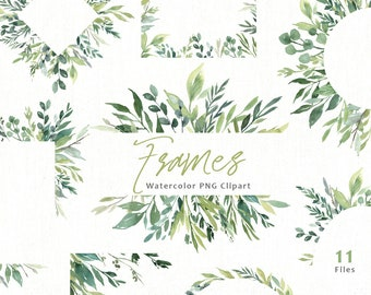 Watercolor Greenery Frames Borders PNG Clipart Green Leaves Branches Clip Art Aquarelle Arrangements Bright Foliage Free Commercial Use