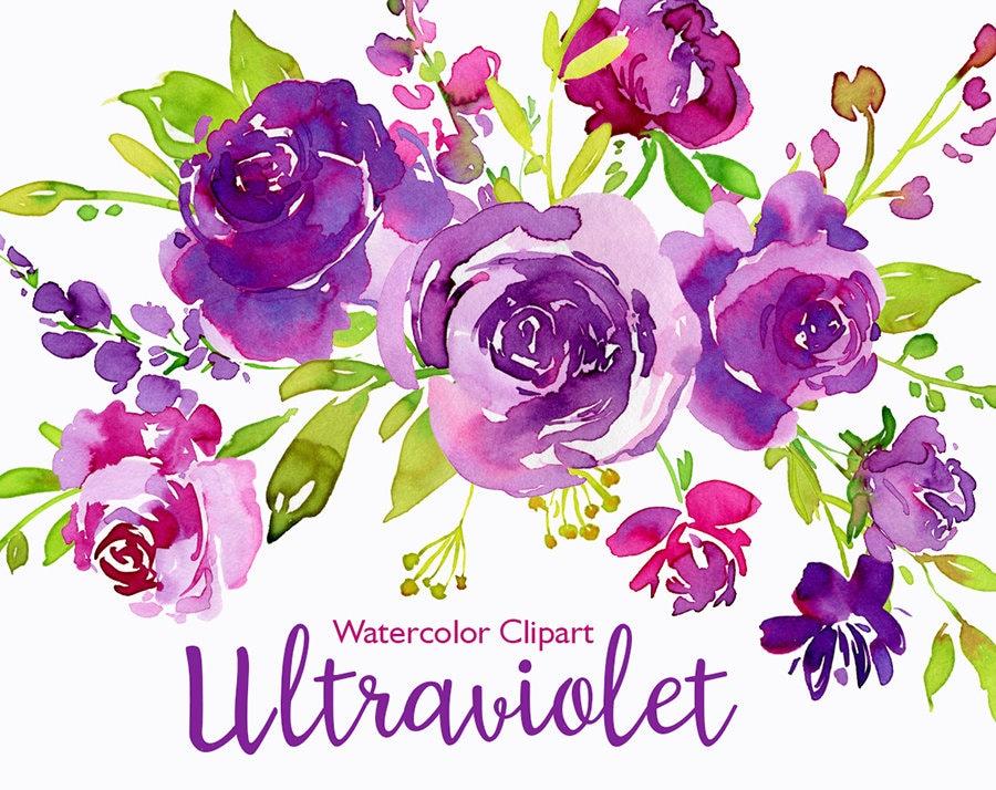 Watercolor Floral Clip Art Ultra Violet Purple Green ...