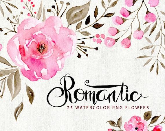 Image Aquarelle watercolor flower clipart: 25 romantic flowers aquarelle | etsy