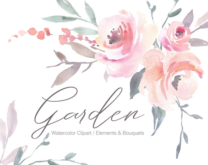 40f463f89b009 Pink Watercolor Floral Clipart Blush Watercolour Flowers Free