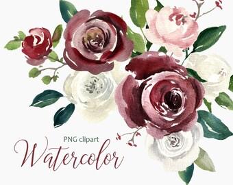 Watercolor Flower Clipart PNG Vintage Boho Retro Floral Old Digital Instant Download Free Commercial Use Leaves Aquarelle Flowers Clip Art