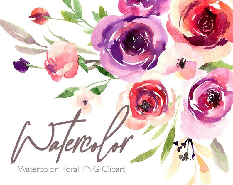 Watercolor Flowers Clipart Bright Floral Clip Art Summer Aquarelle Watercolour Wreaths Bouquet Digital Download Free Commercial Use PNG