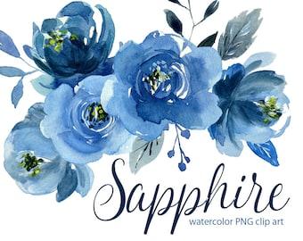 Watercolor Blue Flowers Clipart Indigo Navy Sapphire Roses Peonies Aquarelle Clip Art Watercolour Floral Bouquets Wreath Free Commercial Use