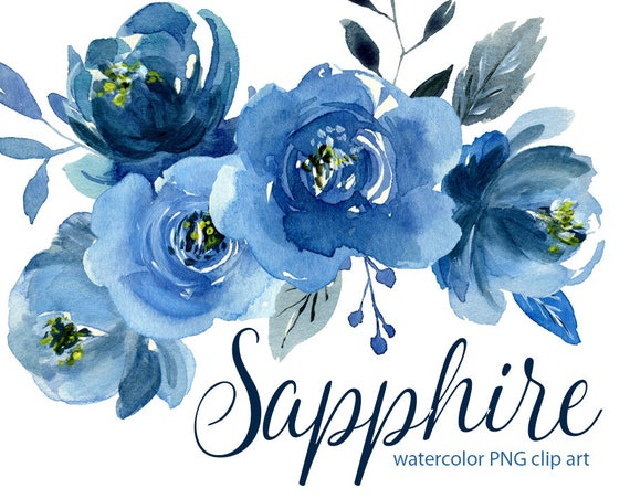 Dark Blue And White Flowers: Watercolor Blue Flowers Clipart Indigo Navy Sapphire Roses
