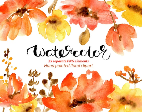 Watercolor floral clipart 25 red poppies flowers aquarelle etsy image 0 mightylinksfo