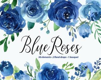Watercolor Flowers Clipart Blue Roses Leaves Branches Free Commercial Use Aquarelle Clip Art Flower Separate PNG & Floral Arrangements