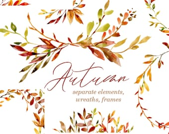 Watercolor Autumn Leaves Branches Clipart Digital Download Clip Art Frames Wreaths Bouquet Wedding Falling Fall Foliage Free Commercial Use