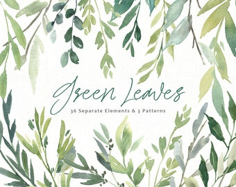 Watercolor Clipart Greenery Leaves Branches Foliage Green Bright Emerald Aquarelle Clip Art Seamless Pattern Fresh Free Commercial Use PNG