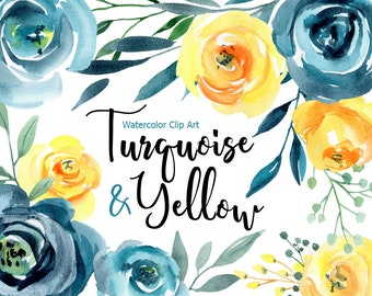 Watercolor Flowers Clip Art Roses Floral Clipart Turquoise Blue Orange Yellow Aquarelle Bright Digital Download Art Free Commercial Use PNG