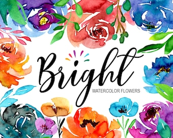 Bright watercolor flowers and leaves summer clipart / floral clip art roses peonies / hand painted aquarelle Free Commercial Use PNG
