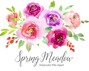 Watercolor Flowers Clipart Pink Blush Red Light Florals Roses Separate Digital Download Wash Floral Wedding Clip Art Free Commercial Use Png