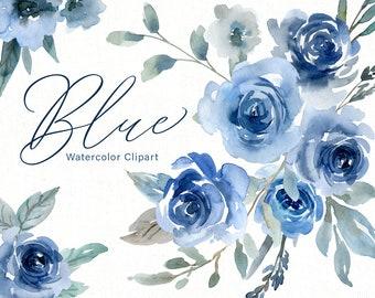 Blue Watercolor Flowers Clipart Wedding Roses Watercolour Floral Clip Art Indigo Navy Sapphire Bouquets Arrangements Free Commercial Use PNG