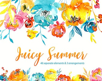 Bright Watercolor Floral Clipart Flowers Arrangements Flowers Drops Digital Download Clip Art Summer Roses Peonies Free Commercial Use PNG