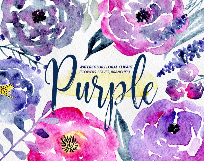 Watercolor Flower Clipart 23 Purple And Blue Flowers Etsy