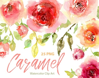 Watercolor Flowers Clipart Pink Blush Red Orange Light Roses Separate Digital Download Wash Floral Wedding Clip Art Free Commercial Use PNG